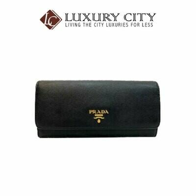 [Luxury City] Preloved Authentic Prada Saffiano Niro Ibisco Long Wallet