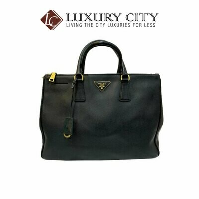 [Luxury City] Preloved Authentic Prada Black Saffiano Lux Tote Bag With Gold Hardware