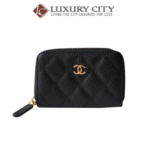 [Luxury City] Chanel Black Caviar Leather Zip Around Card Holder Wallet