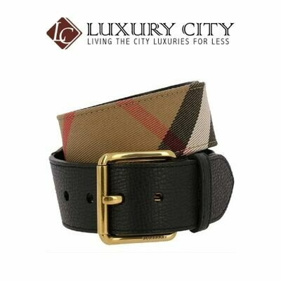 [Luxury City] Burberry House Check And Leather Belt Burberry-4041428
