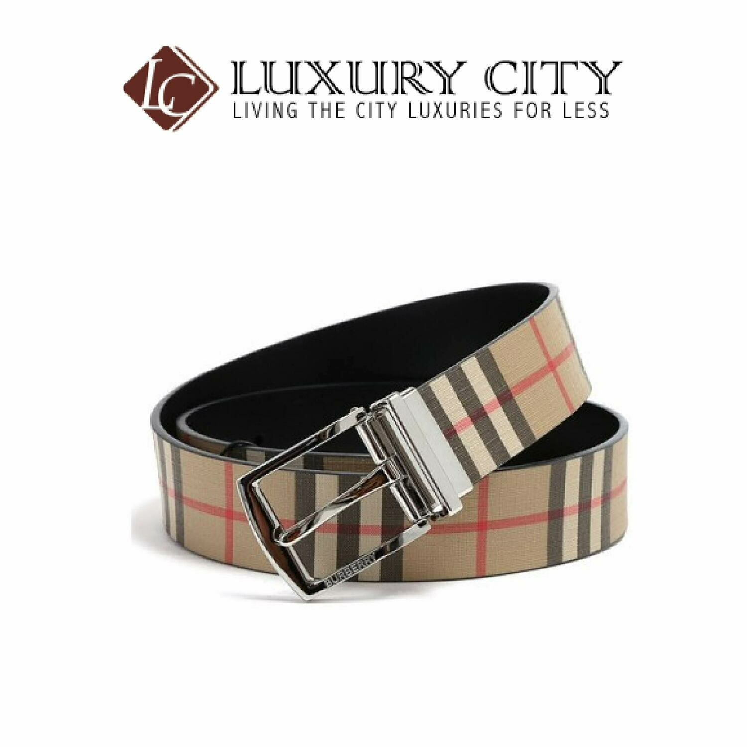[Luxury City] Burberry Buckle Vintage Check E-Canvas Belt Burberry-8024184