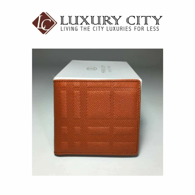 [Luxury City] Burberry Embossed Checked Calfskin Double Fold Short Folder Bright Orange
