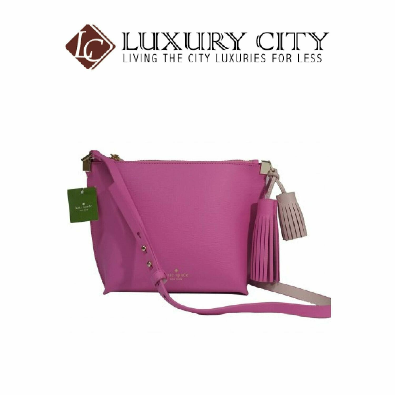 [Luxury City] Kate Spade Pepper Foster Court Leather Tassel Pink Crossbody Bag