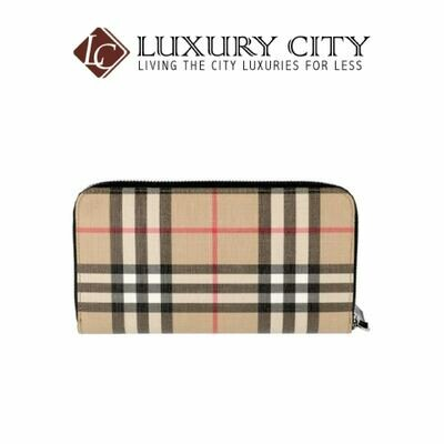 [Luxury City] Burberry Vintage Check Zip Around Wallet Light Brown Burberry-8016612