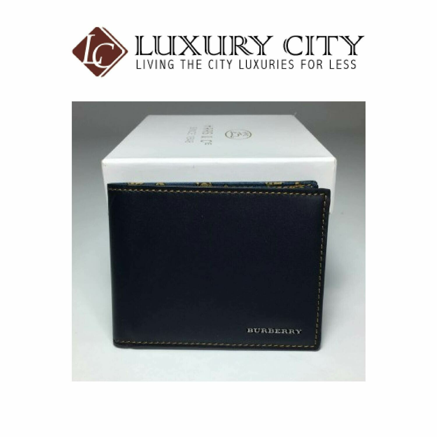 [Luxury City] Burberry Classic Portfolio Wallet In Navy Blue