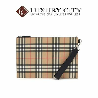 [Luxury City] Burberry Vintage Check E-Canvas and Leather Zip Pouch Burberry-8016615