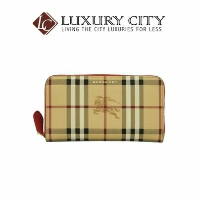 [Luxury City] Burberry Haymarket Check and Leather Zip Around Wallet Burberry-40607311