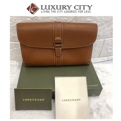 [Luxury City] Preloved Used Longchamp Full Leather Double Side Long Wallet