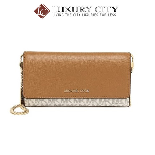 [Luxury City] Michael Kors Large Logo And Leather Convertible Chain Walletwhite/Cream MK-32H8GF5C3B