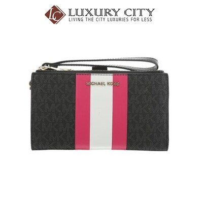[Luxury City] Micheal Kors Adele Logo Stripe Smartphone Wallet Black MK-32T9LFDW4B