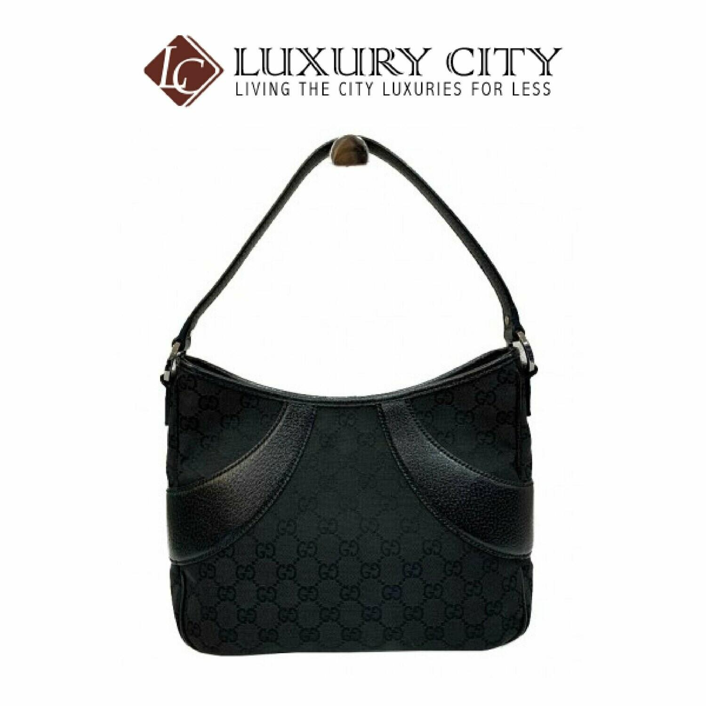 [Luxury City] Preloved Authentic Gucci Monogram Signature GG Tote Black