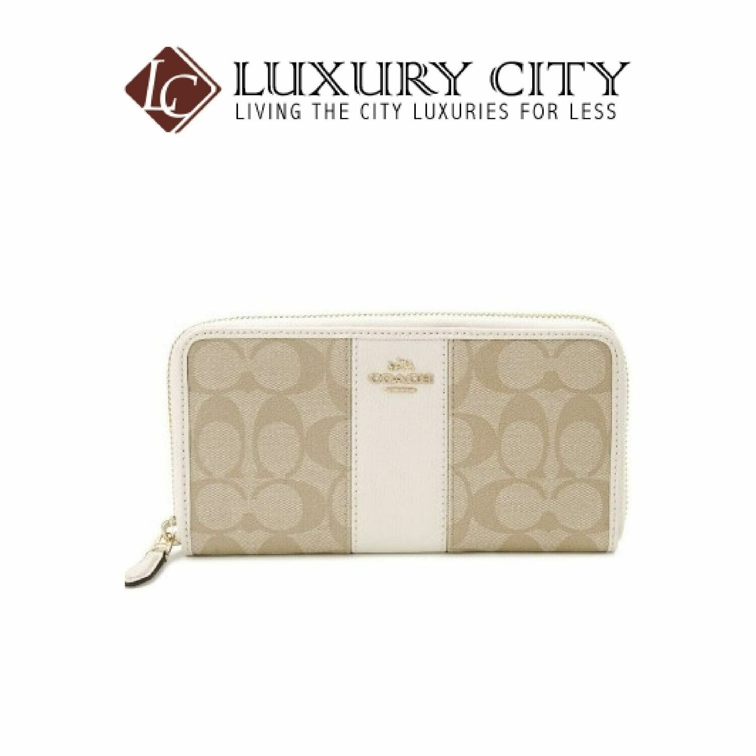 [Luxury City] Coach Accordian Zip Wallet in Signature Coated Canvas With Leather Stripe Coach-F54630 (White)