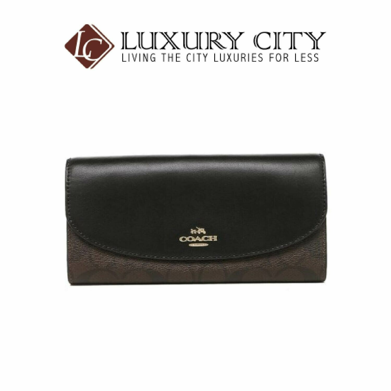 [Luxury City] Coach Slim Envelope Wallet In Signature Coach-F54022 (Brown/Mahogany)