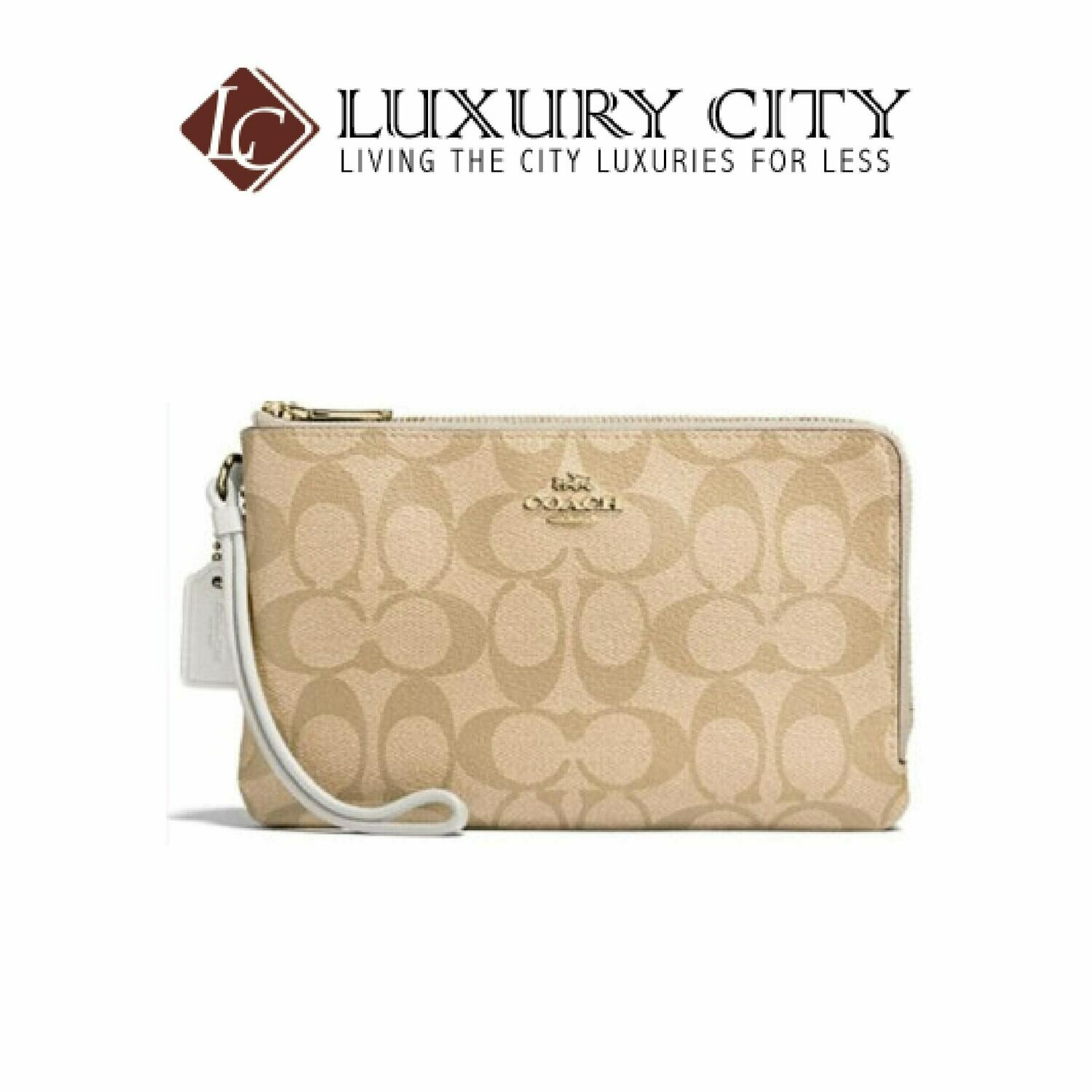 [Luxury City] Coach Double Zip Wallet in Signature Coated Canvas Coach-F16109 (White)