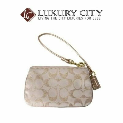 [Luxury City] Coach Golden Embroidered Coin Purse F44507 (GOLD)-Defect