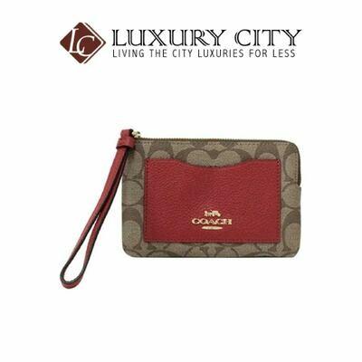 [Luxury City] Coach Corner Zip Wristlet in Colorblock Signature Canvas Red Coach-F73142