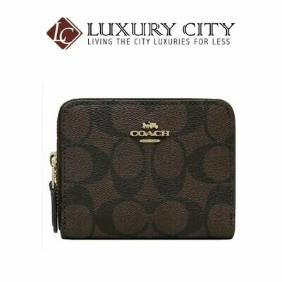[Luxury City] Coach Small Double Zip Around Wallet in Signature Canvas Brown/Mahogany-F78144