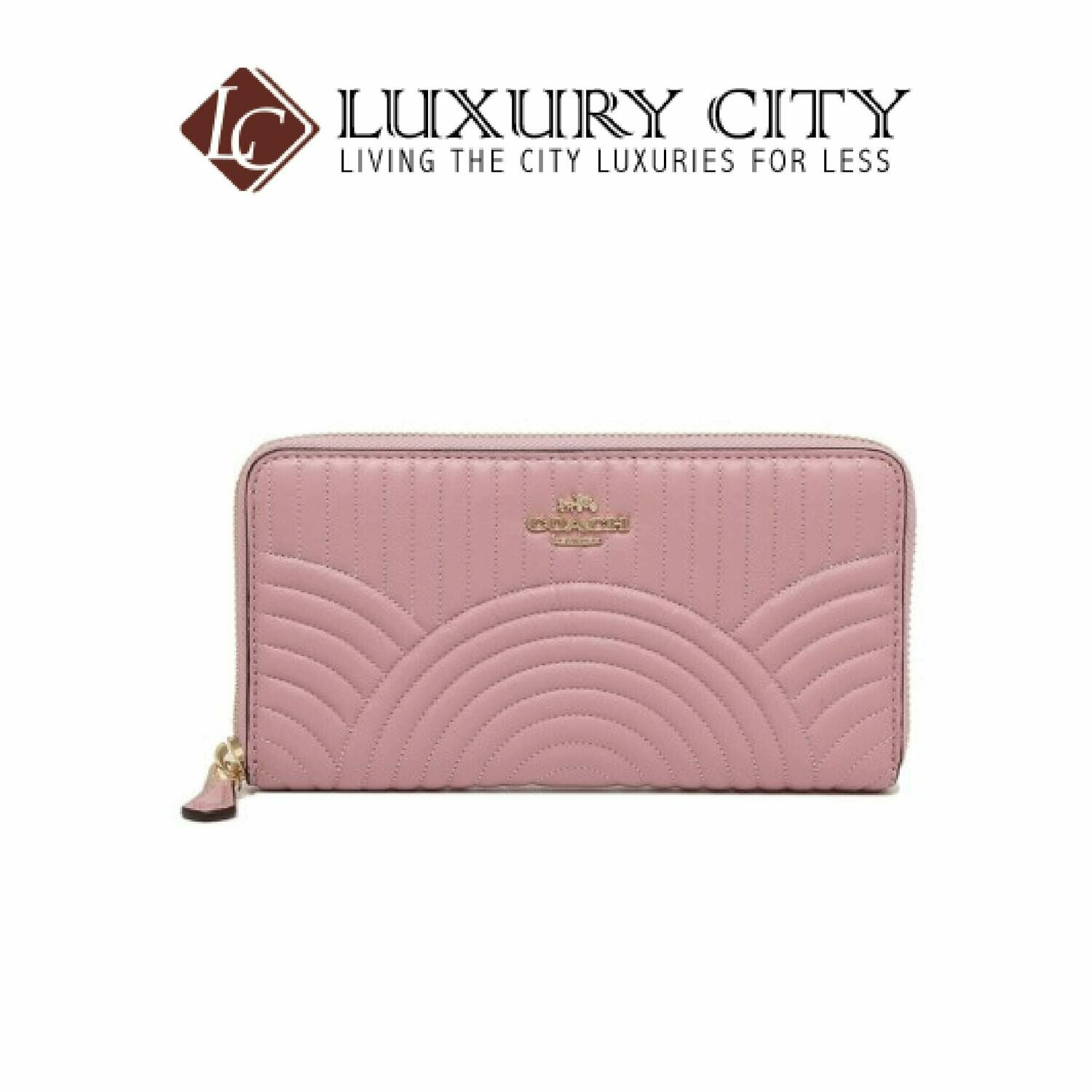 [Luxury City] Coach Accordion Zip Wallet With Art Deco Quilting Light Pink Coach-F87888