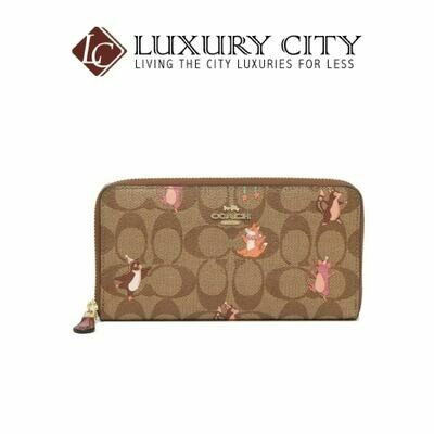 [Luxury City] Coach Accordion Zip Wallet in Signature Canvas With Party Animals Print Brown/Sand Coach-F87885