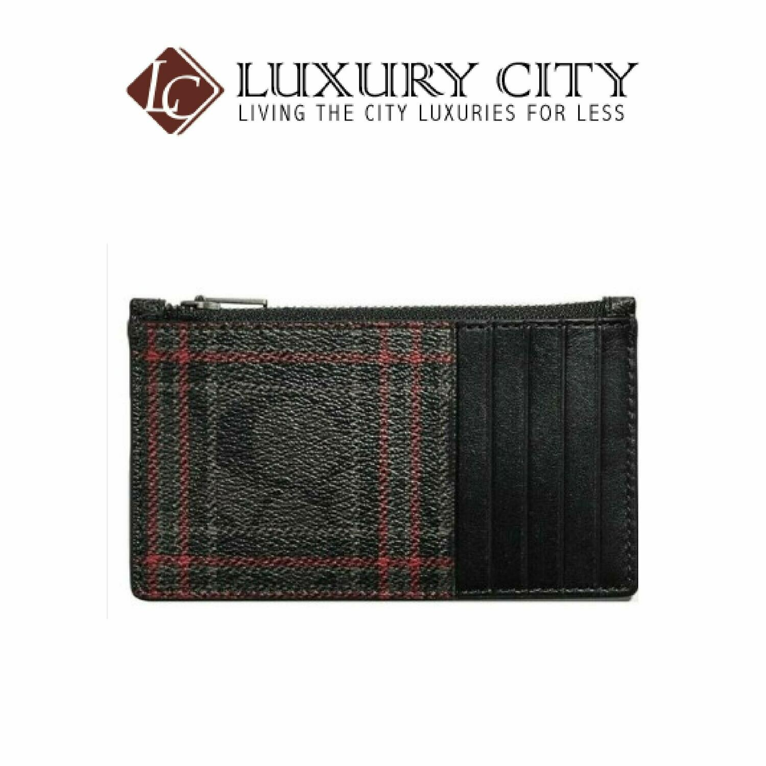 [Luxury City] Coach Boxed Plaid Black Red Zip Coated Canvas Valet Keyfob Gift Set Coach-F84884