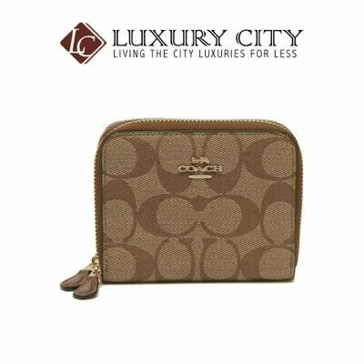 [Luxury City] Coach Small Double Zip Around Wallet in Signature Canvas Light Brown/Sand Coach-F78144