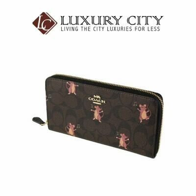[Luxury City] Coach Accordion Zip Wallet in Signature Canvas With Party Mouse Print Brown/Mahogany Coach-F88259
