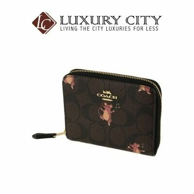 [Luxury City] Coach Small Zip Around Wallet Card Case Canvas Logo Party Mouse Brown/Mahogany Coach-F87917