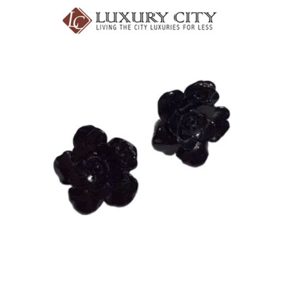 [Luxury City] Preloved Authentic Chanel Black Flower Ear Clip