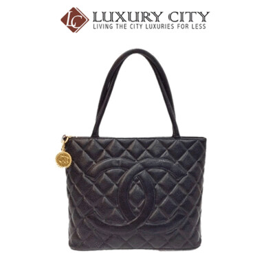 [Luxury City] Preloved Authentic Chanel Black Quilted Vintage Medallion Tote