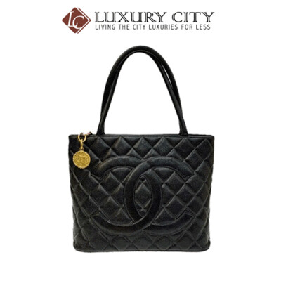 [Luxury City] Preloved Authentic Chanel Black Quilted Caviar Medallion Tote