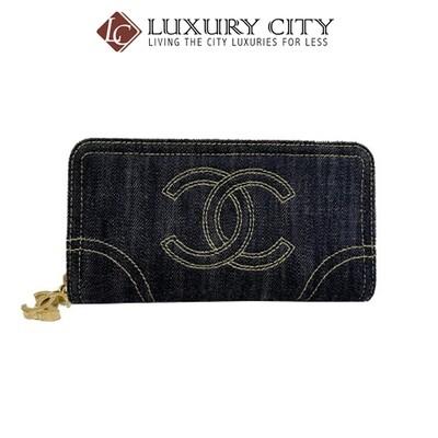 [Luxury City] Preloved Authentic Chanel Denim Zip Around Wallet