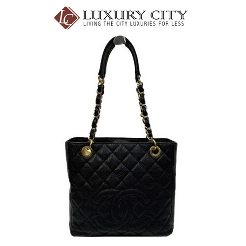 [Luxury City] Preloved Authentic Chanel Black Quilted Caviar Leather Shopping Tote