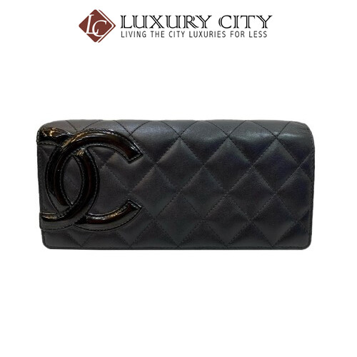 [Luxury City] Preloved Authentic Chanel Black Quilted Long Wallet