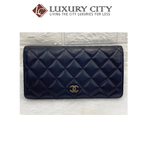 [Luxury City] Preloved Chanel Navy Blue Calf Leather Bifold Long Wallet