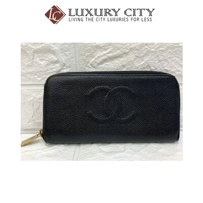 [Luxury City] Preloved Vintage Chanel Black Caviar Zip Round Long Wallet