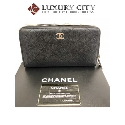 [Luxury City] Preloved Chanel Calf Leather Black Long Wallet