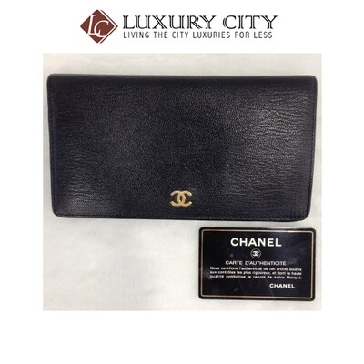 [Luxury City] Preloved Vintage Chanel Calf Leather Bifold Long Wallet