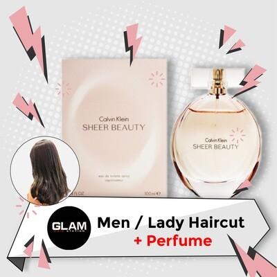 Glam Hair Station Hair Cut Service + Perfume (Calvin Klein cK Sheer Beauty EDT Lady 100ml) Package