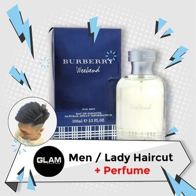 Glam Hair Station Hair Cut Service + Perfume (Burberry Weekend EDT Men 100ml) Package