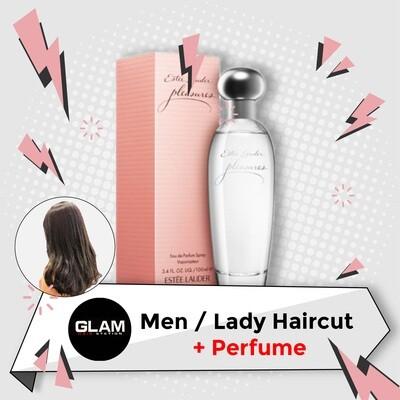 Glam Hair Station Hair Cut Service + Perfume (Estee Lauder Pleasure EDP Lady 100ml) Package
