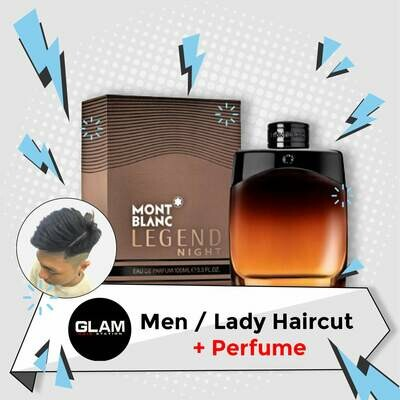 Glam Hair Station Hair Cut Service + Perfume (Mont Blanc Legend Night EDP Men 100ml) Package