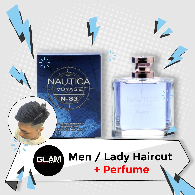 Glam Hair Station Hair Cut Service + Perfume (NAUTICA Voyage N-83 EDT 100ml) Package