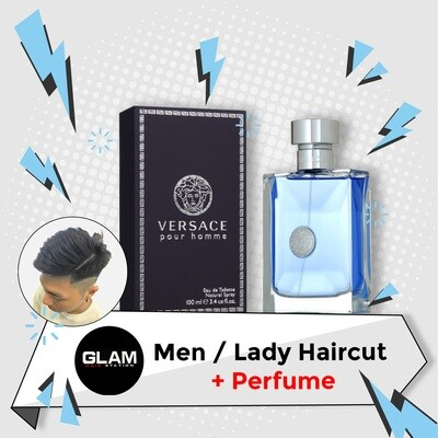 Glam Hair Station Hair Cut Service + Perfume (Versace Pour Homme EDT Man 100ml) Package