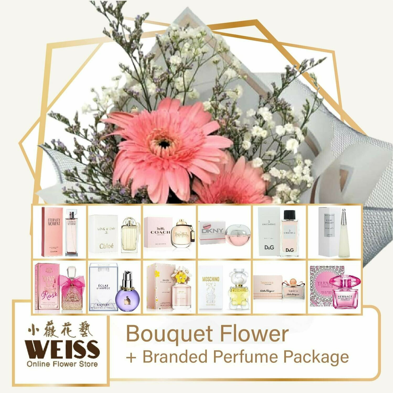Weiss Florist 2 stalks Pink Daisy  + Branded Perfume Package (Free Shipping! Only deliver in JB)