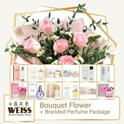 Weiss Florist 5 stalks Pink Roses + Branded Perfume Package (Free Shipping! Only deliver in JB)