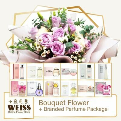 Weiss Florist 10 stalks Purple Roses + Branded Perfume Package (Free Shipping! Only deliver in JB)