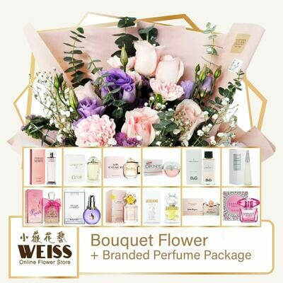 Weiss Florist 9 stalks Pink Carnation Mixed Roses + Branded Perfume Package (Free Shipping! Only deliver in JB)
