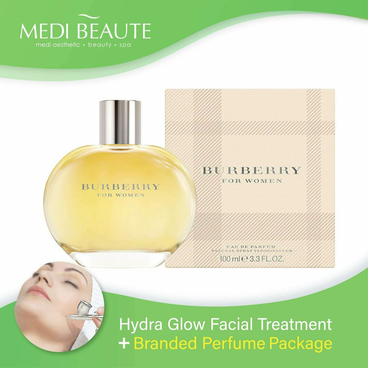 Medi Beaute Hydra Glow Facial Treatment + Branded Perfume ( Burberry Classic Lady EDP 100ml) Package