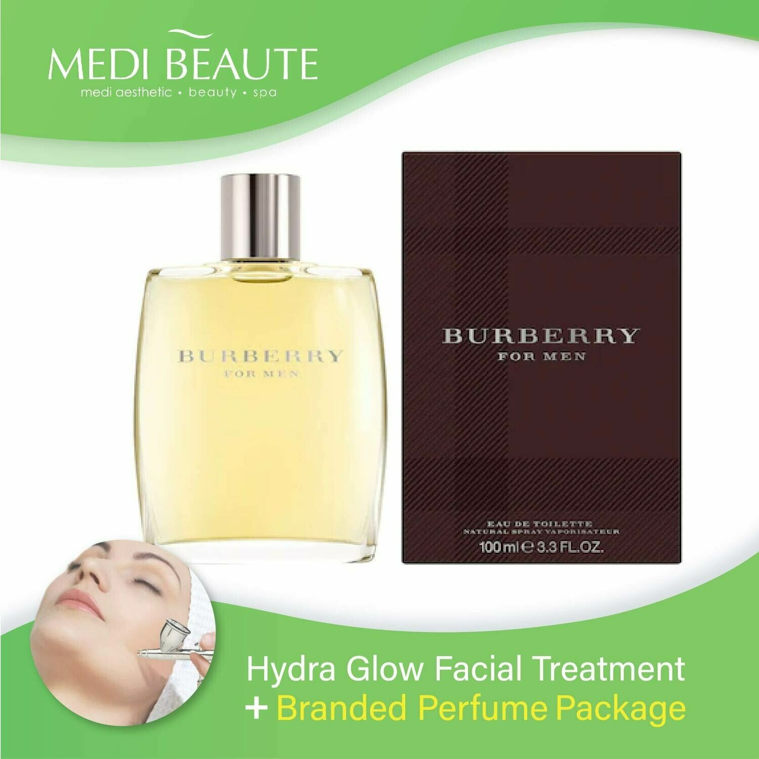 Medi Beaute Hydra Glow Facial Treatment + Branded Perfume ( Burberry Classic Men EDT 100ml) Package
