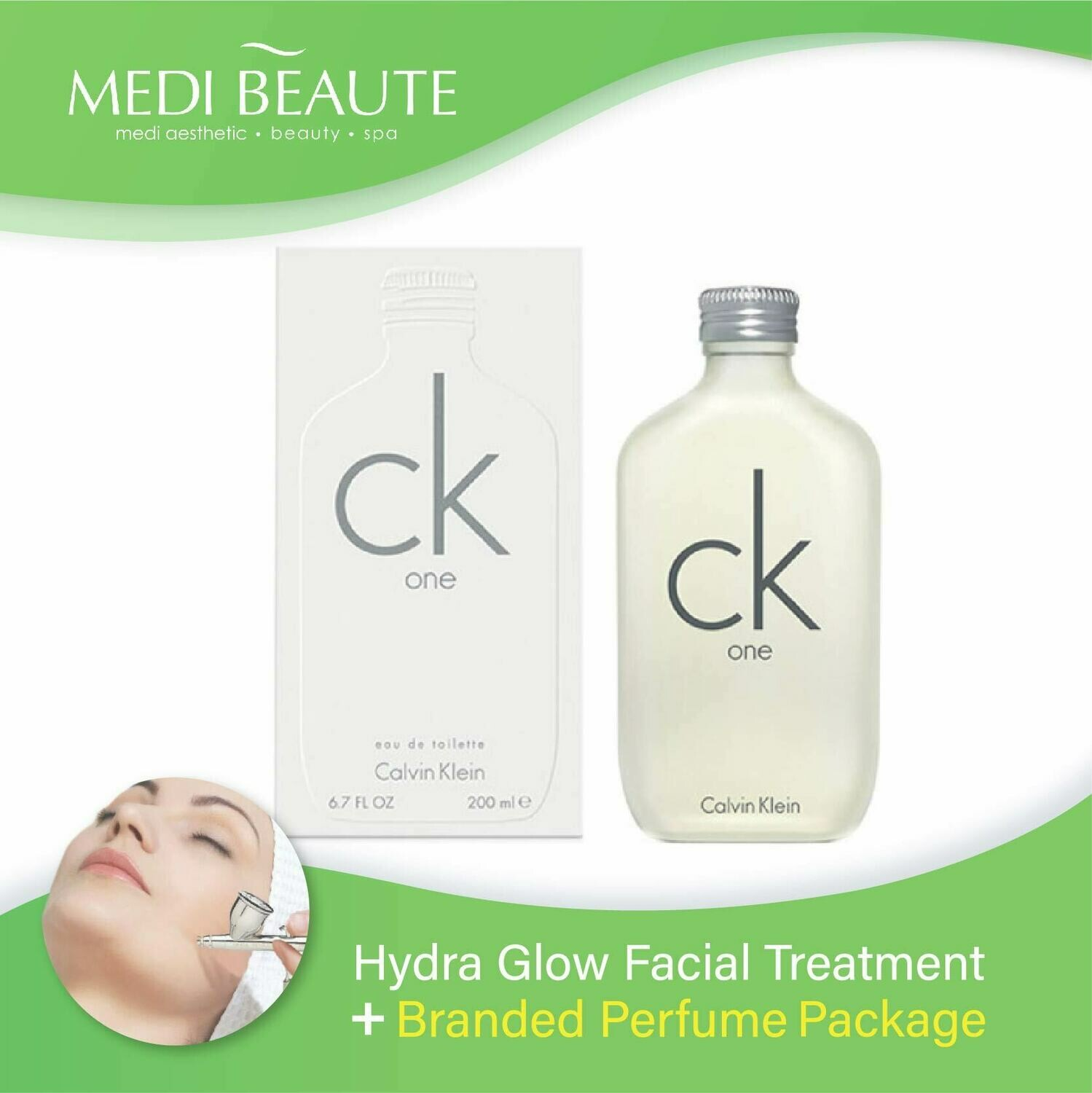 Medi Beaute Hydra Glow Facial + Branded Perfume ( Calvin Klein cK One Unisex EDT 200ml) Package